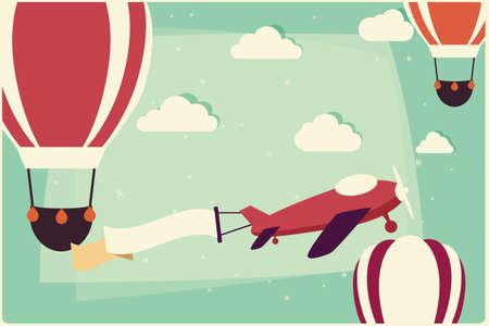 ni�os con pancarta: Fondo con los globos de aire caliente y avi�n con cinta, ilustraci�n vectorial