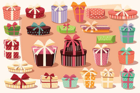 ribbons and bows: Collection of colorful gift boxes with bows and ribbons in different shapes, vector illustration