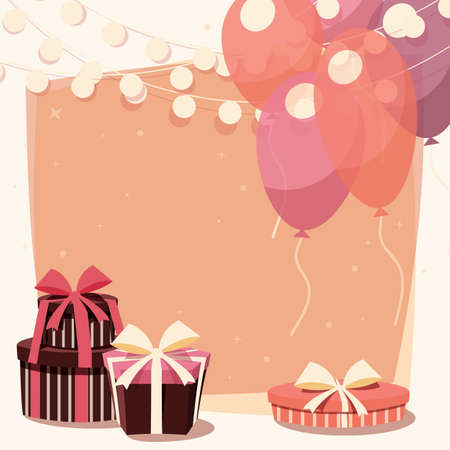birth day: Birthday background with presents and balloons, vector illustration Illustration