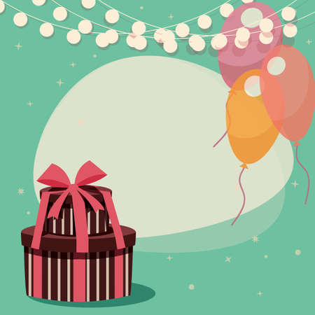 happy birtday: Birthday background with presents and balloons, vector illustration Illustration
