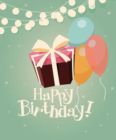 Birthday background with presents and balloons, vector illustration Illustration
