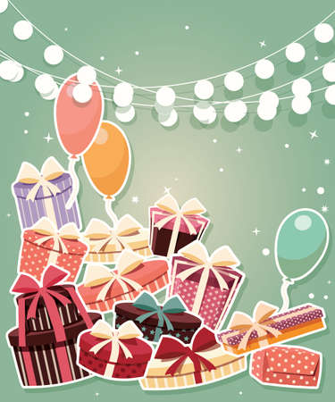 happy birtday: Birthday background with sticker presents and balloons, vector illustration Illustration