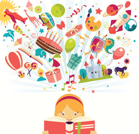 Imagination concept - girl reading a book with air balloon, rocket and airplane flying out, vector illustration