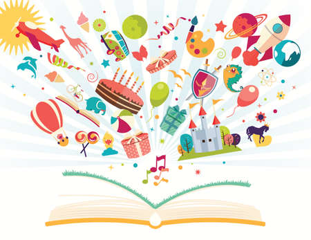 Imagination concept - open book with air balloon, rocket, airplane flying out, vector illustration Ilustração