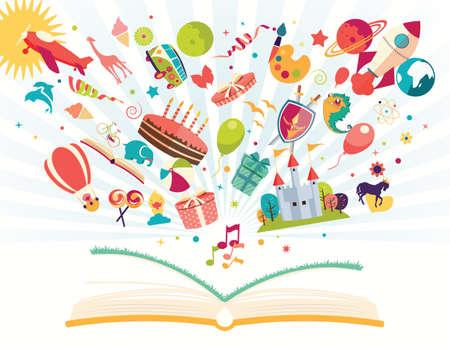 bambini: Immaginazione concept - libro aperto con mongolfiera, razzo, aereo volare, illustrazione vettoriale
