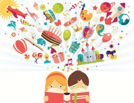 niños jugando caricatura: Concepto Imaginación, niño y niña que lee un libro objetos volando, ilustración vectorial Vectores