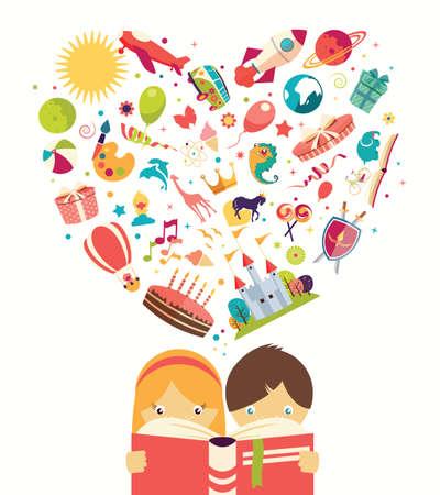 Verbeelding concept, jongen en meisje het lezen van een boek objecten vliegen, vector illustratie Stockfoto - 37442084