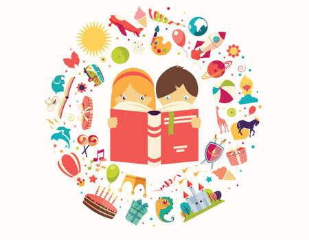 niños leyendo: Concepto Imaginación, niño y niña que lee un libro objetos volando, ilustración vectorial Vectores
