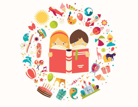 Imagination concept, boy and girl reading a book objects flying out, vector illustration Çizim