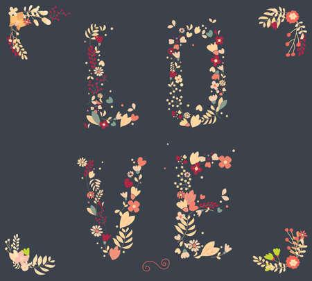 손으로 그린 빈티지 꽃과 결혼식, 발렌타인 데이, 생일 및 휴일 꽃 요소, 벡터 일러스트 레이 션