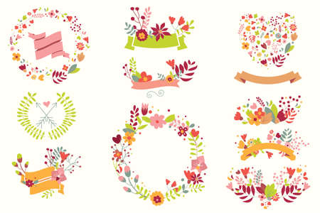 Hand drawn vintage flowers and floral elements for weddings, Valentines day, birthdays and holidays, vector illustration Illustration