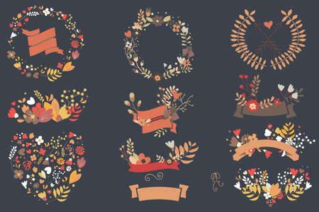 Hand drawn vintage flowers and floral elements for weddings, Valentines day, birthdays and holidays, vector illustration Stock Illustratie