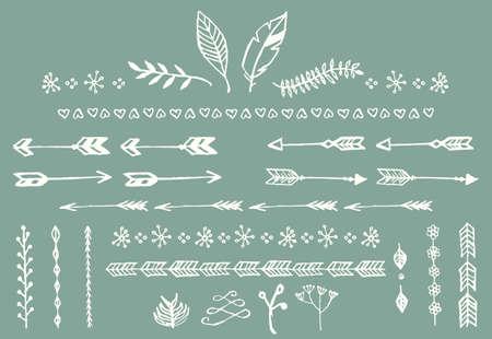 ベクトル イラスト、手で描かれたビンテージ矢印、羽、仕切り、花の要素
