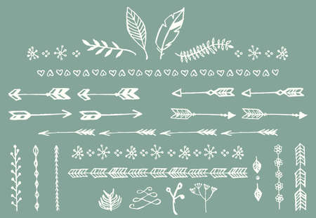 border: Hand drawn vintage arrows, feathers, dividers and floral elements, vector illustration