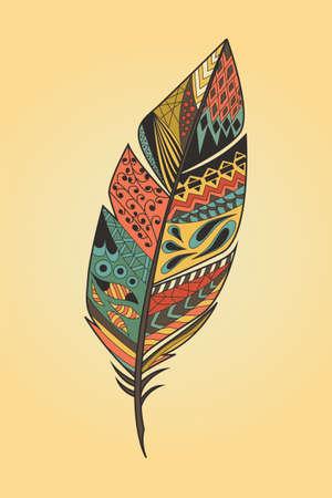 Vintage tribale etnische hand getekend kleurrijke veer, vector illustratie