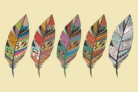 ビンテージの部族民族のコレクションが描かれたカラフルな羽を手、ベクトル イラスト
