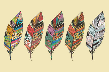 color tribal tattoo: Collection of vintage tribal ethnic hand drawn colorful feathers, vector illustration
