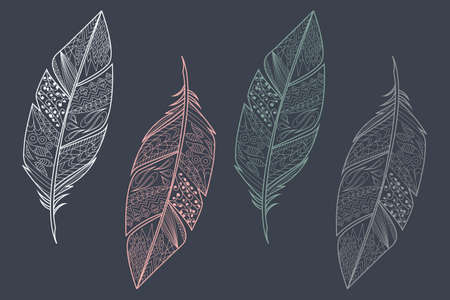 Collection of vintage tribal ethnic hand drawn colorful feathers, vector illustration