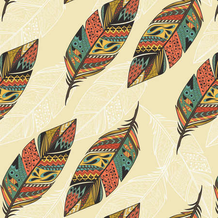 Naadloos patroon met vintage tribale etnische hand getekende kleurrijke veren, vector illustratie