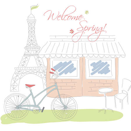 french cafe: Welcome spring in Paris postcard, hand drawn, vector illustration