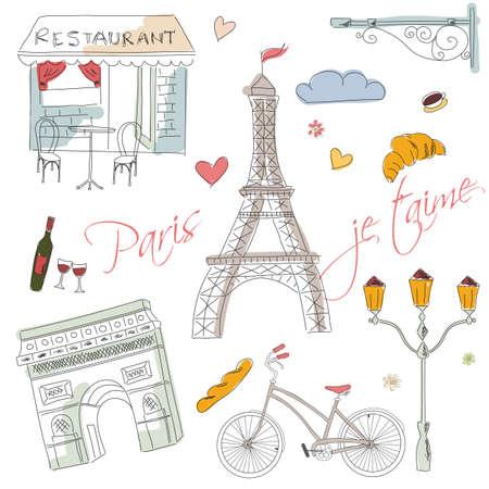 frances: Símbolos de París, postal, dibujado a mano, ilustración vectorial