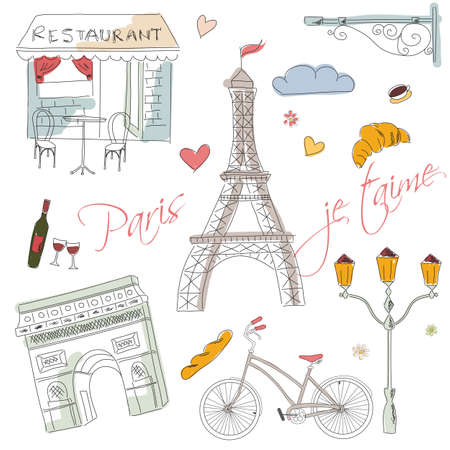 Paris symbols, postcard, hand drawn, vector illustration Vettoriali