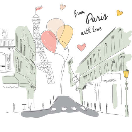sidewalk cafe: Postcard from Paris street, Eiffel tower and balloons, hand drawn, vector illustration