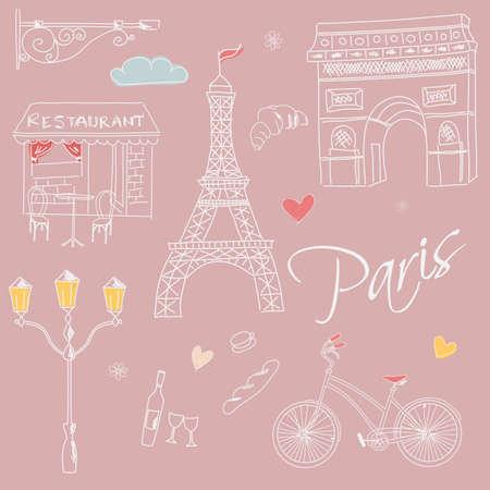 Paris symbols, postcard, hand drawn, vector illustration Vector