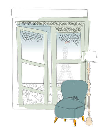 residental: Window view from Paris window, Eiffel tower, hand drawn, vector illustration
