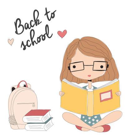 niños pensando: Chica joven con gafas de leer un libro, de nuevo a la escuela, ilustración vectorial