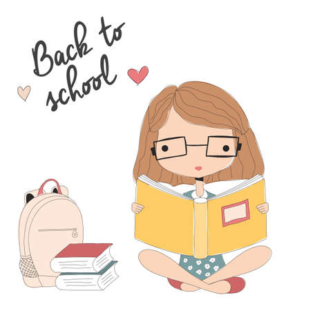 Young girl with glasses reading a book, back to school, vector illustration