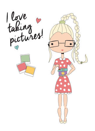 pony tail: Girl holding a camera, taking pictures, vector illustration