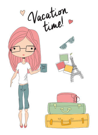 student travel: Girl holding a passport standing next to suitcases, ready for vacation, vector illustration
