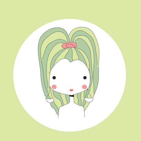 Libra: Horoscope Libra sign, girl head, vector illustration Illustration