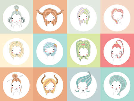 fortune telling: Horoscope signs with girls, vector illustration