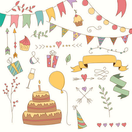 birthday cake: Hand drawn vintage birthday design elements, flowers and floral elements, vector illustration