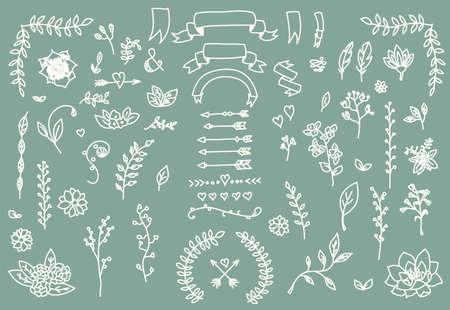 Hand getrokken uitstekende pijlen, veren, verdelers en florale elementen, vector illustratie Stock Illustratie