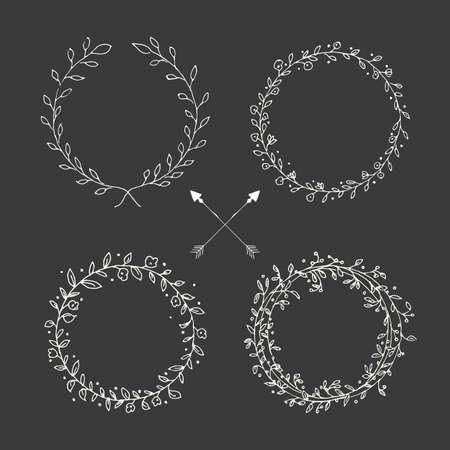 手の描かれたヴィンテージの矢印、羽、分周器と花の要素、ベクトル イラスト  イラスト・ベクター素材