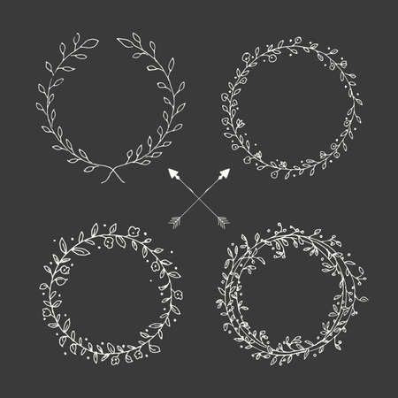 Hand drawn vintage arrows, feathers, dividers and floral elements, vector illustration