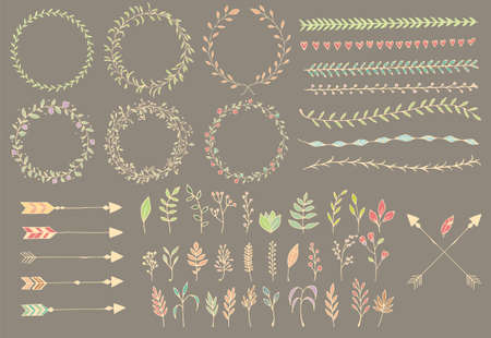 Hand drawn vintage arrows, feathers, dividers and floral elements, vector illustration Vector