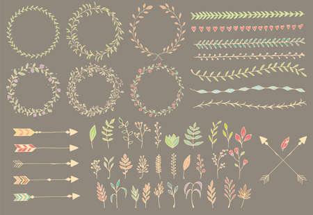 Hand getrokken uitstekende pijlen, veren, verdelers en florale elementen, vector illustratie Stockfoto - 39475628