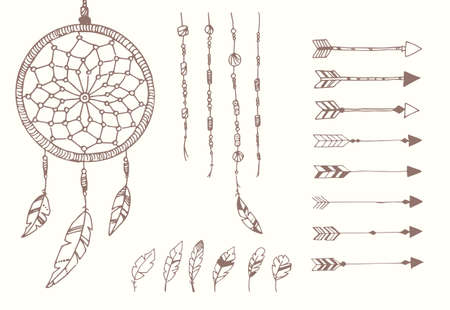 手の描かれたネイティブ アメリカンの羽、ドリーム キャッチャー、ビーズと矢印、ベクトル イラスト  イラスト・ベクター素材