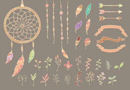 atrapasueños: Dibujado a mano plumas del nativo americano, sueño colector, perlas, flechas y flores, ilustración vectorial