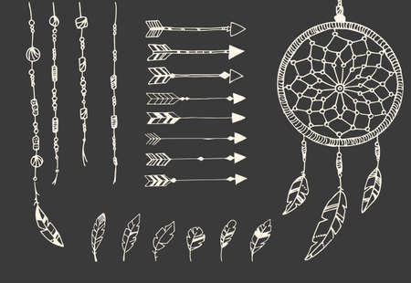 Hand drawn native american feathers, dream catcher, beads and arrows, vector illustration Illustration