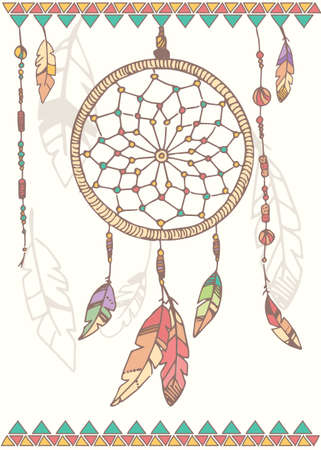 american dream: Hand drawn native american dream catcher beads and feathers vector illustration Illustration