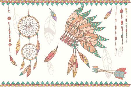indian chief headdress: Disegnati a mano native american dream catcher capo indiano piume copricapo perline e frecce illustrazione vettoriale
