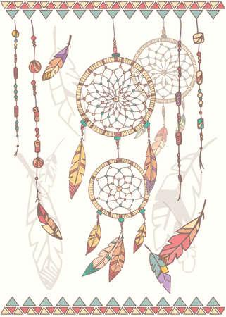 atrapasue�os: Dibujado a mano americanos cuentas y plumas sue�o colector nativos ilustraci�n vectorial