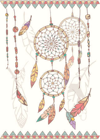 Hand drawn native american dream catcher beads and feathers vector illustration Stock Illustratie