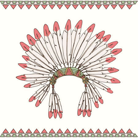 Hand getrokken native american indian chief hoofdtooi vector illustratie Stock Illustratie