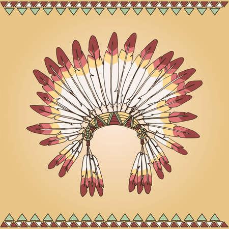 indian chief headdress: Disegnato capo indiano nativo americano copricapo illustrazione a mano